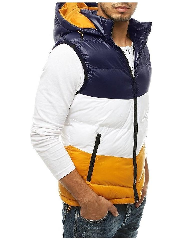 Pánská modro-žluto-bílá prošívaná vesta s kapucí vel. L