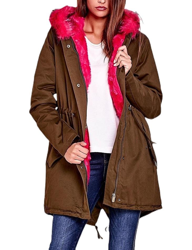 Dámská hnědá bunda s růžovou kožešinou vel. L