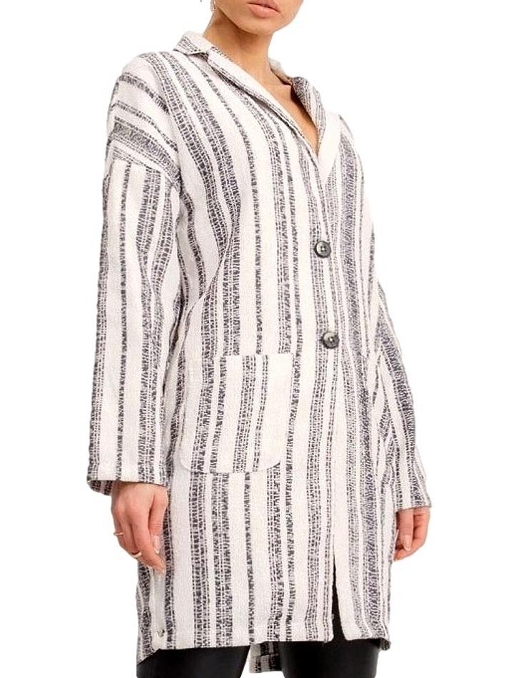 Bílo-šedý dámský lehký kabát vel. L