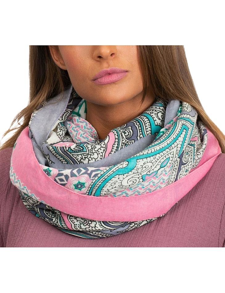 Dámský vzorovaný růžový šátek vel. ONE SIZE