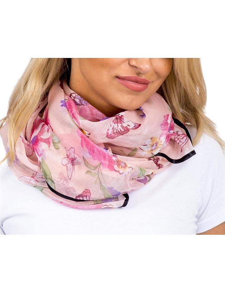 Světle-růžový dámský šátek s motýli vel. ONE SIZE