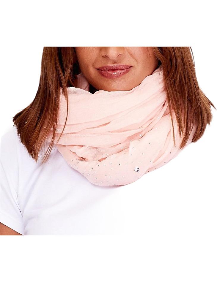 Světle-růžový dámský šátek s kamínky vel. ONE SIZE