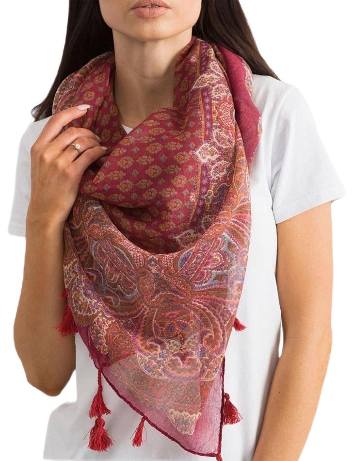 červený dámský šátek s třásněmi vel. ONE SIZE