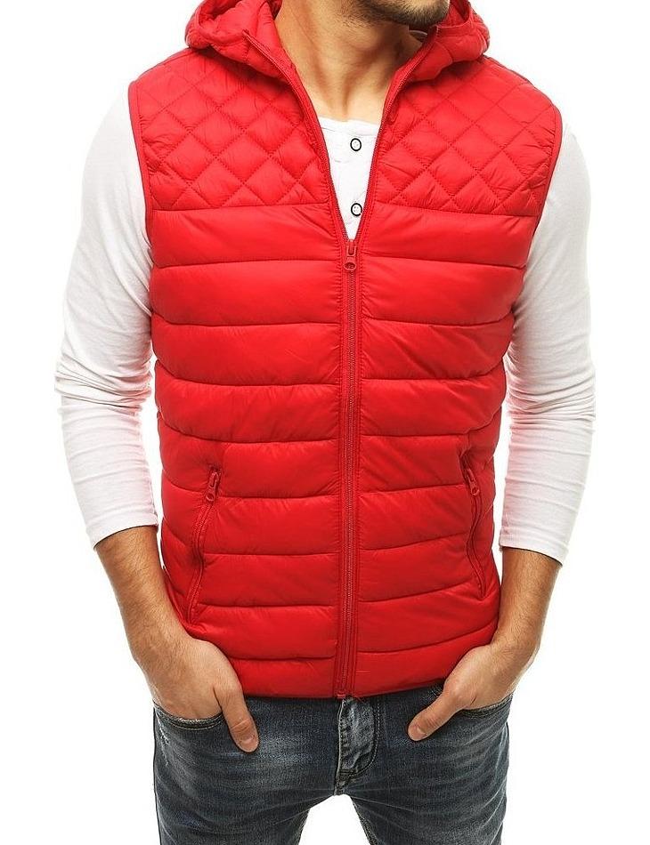 červená pánská přechodová prošívaná vesta vel. L