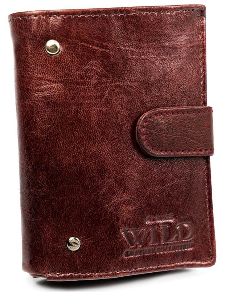 Malá kaštanová kožená peněženka always wild® vel. ONE SIZE