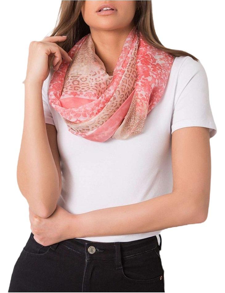 Růžový šátek se zvířecím vzorem vel. ONE SIZE