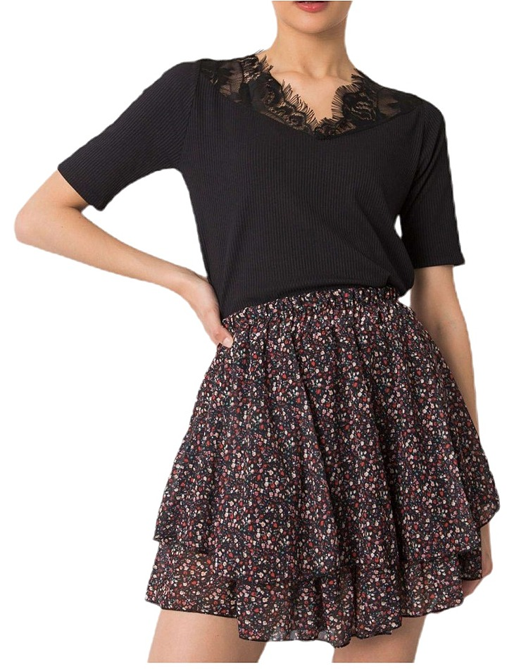 černá dámská sukně s květinami vel. ONE SIZE