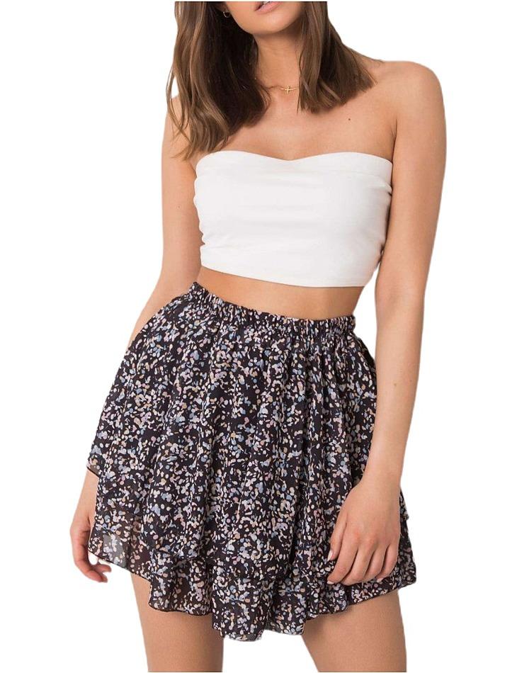 černá dámská květinová mini sukně vel. ONE SIZE