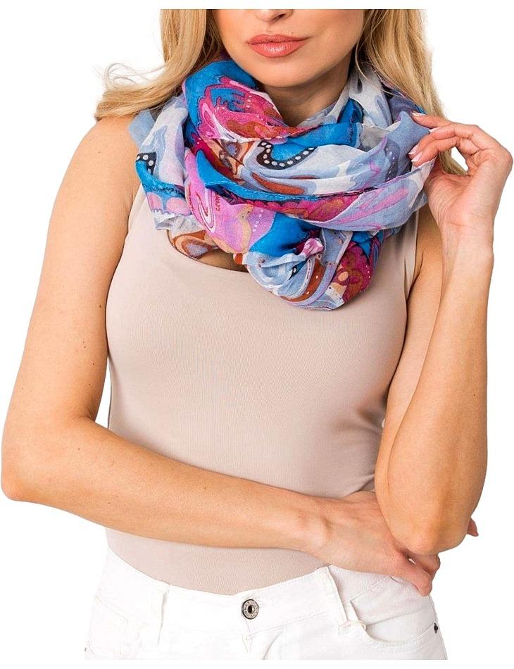 Modro-fialový šátek s květinovými vzory vel. ONE SIZE