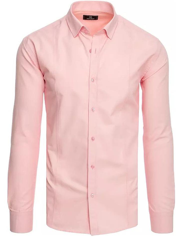 Růžová pánská košile s dlouhým rukávem vel. 2XL
