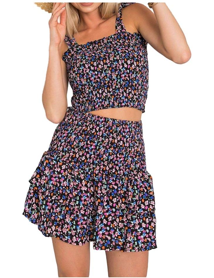 černá květinová sukně s volány vel. L