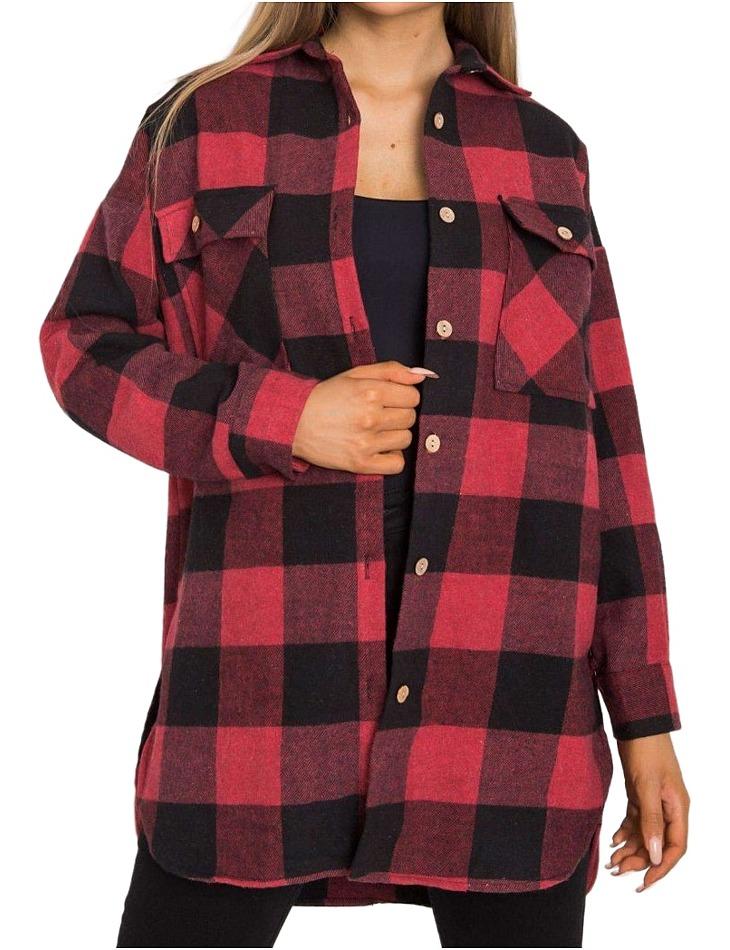 černo-červená károvaná flanelová košile vel. S/M