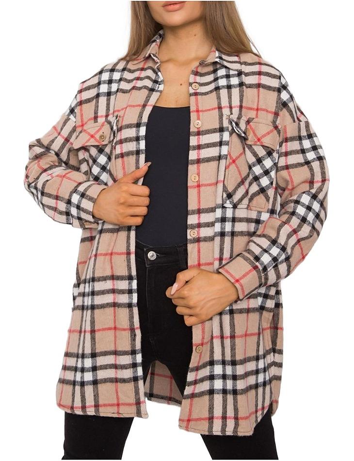 Béžovo-černá károvaná flanelová košile vel. S/M