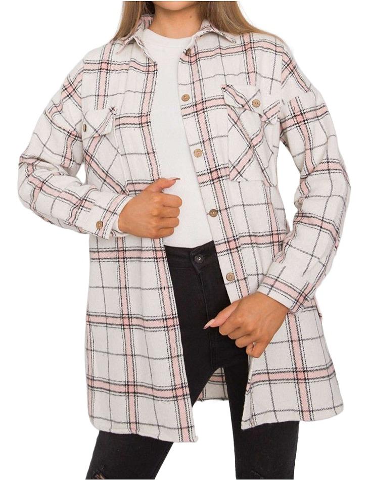Bílo-béžová károvaná flanelová košile vel. S/M
