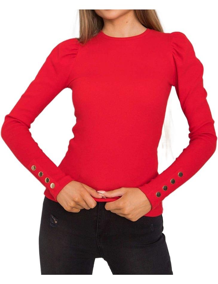 červená halenka s nabíranými rukávy a knoflíčky vel. S