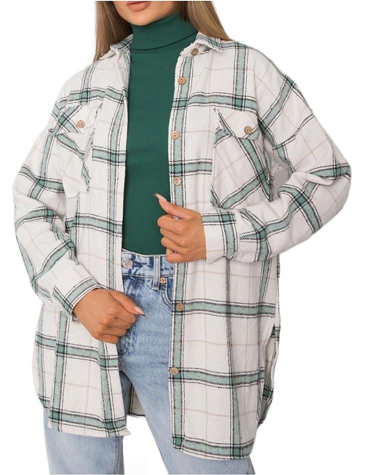 Bílo-zelená károvaná flanelová košile vel. S/M