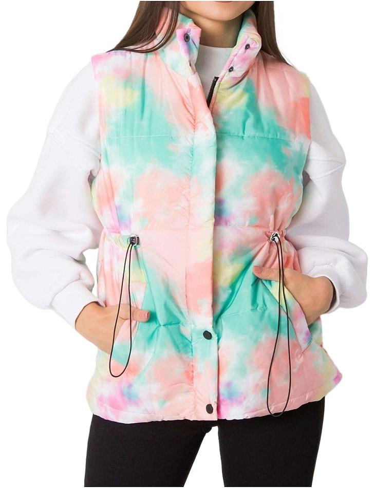 Modro-růžová dámská vesta s gumičkou v pase vel. XL