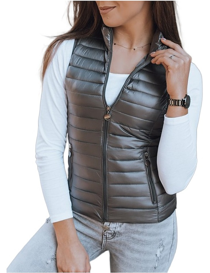Tmavě šedá prošívaná vesta vel. XL