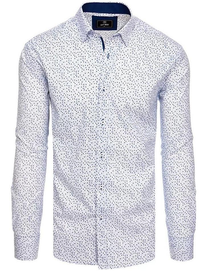 Bílá košile s modrým vzorem vel. XL