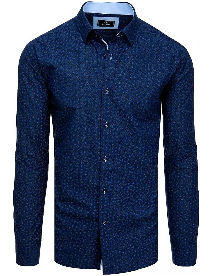 Tmavomodrá košile s drobným vzorováním vel. XL