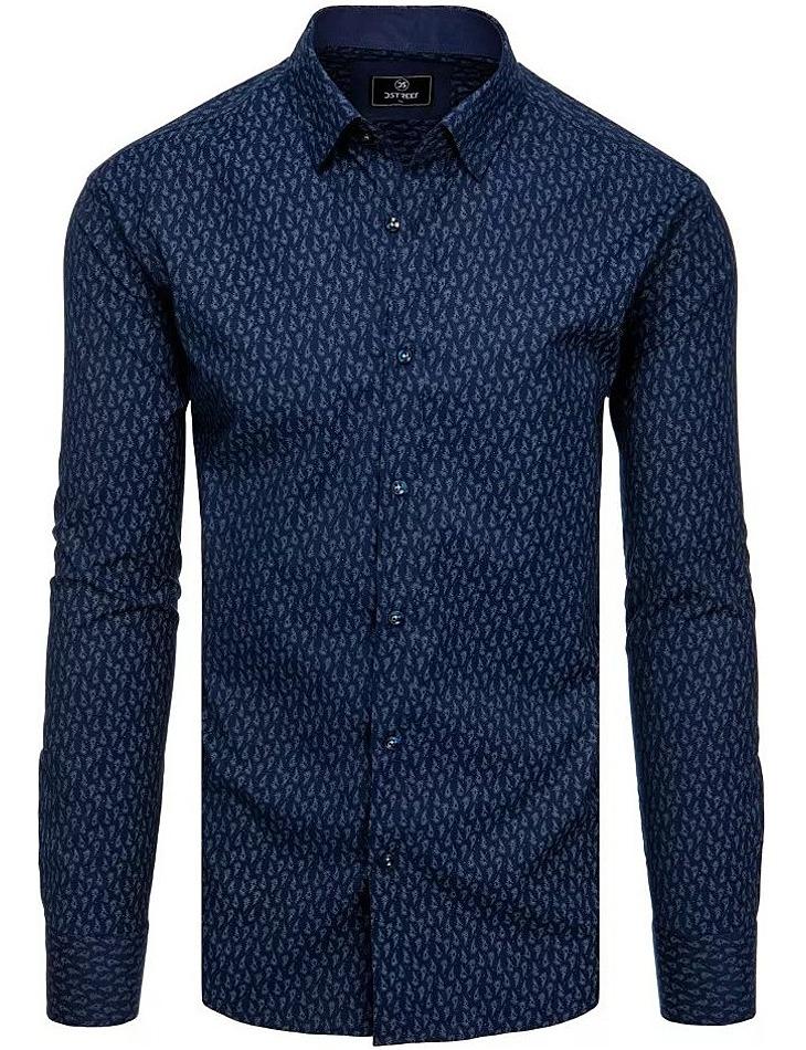 Tmavomodrá košile se vzorem paprsků vel. XL